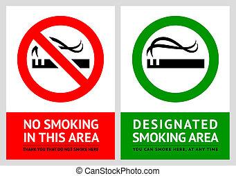 No smoking and Smoking area labels - Set 2
