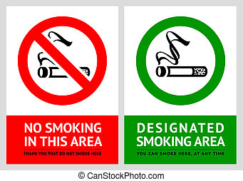 No smoking and Smoking area labels - Set 3, vector...