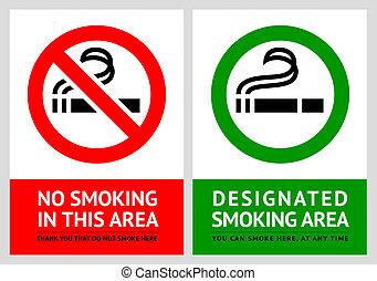 No smoking and Smoking area labels - Set 6