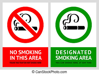 No smoking and Smoking area labels - Set 7, vector...