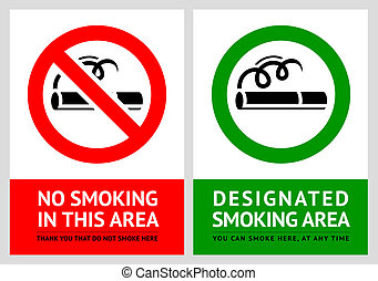 No smoking and Smoking area labels - Set 11