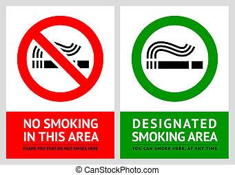 No smoking and Smoking area labels - Set 12, vector...