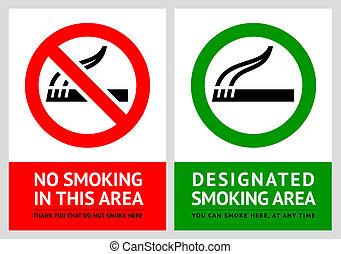 No smoking and Smoking area labels - Set 4