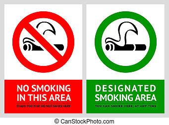 No smoking and Smoking area labels - Set 5