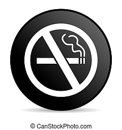 no smoking black circle web glossy icon