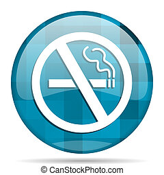 no smoking blue round modern design internet icon on white background