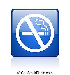no smoking blue square glossy web icon on white background
