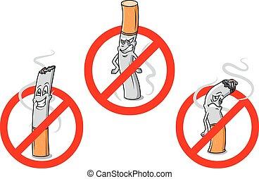 No smoking cartoon signs