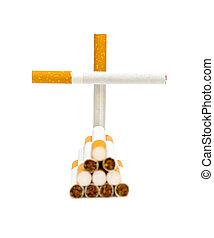 No smoking. Cigarette on a white background.
