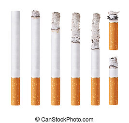no smoking - Cigarettes during different stages of burn. ...