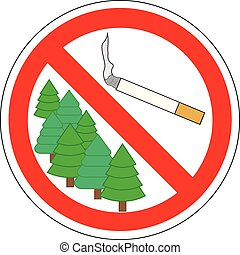 No smoking cigarettes in forest, prohibitory sign, vector