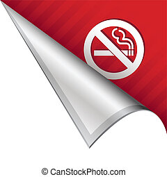 No smoking icon on vector peeled corner tab suitable for use in print, on websites, or in advertising materials.