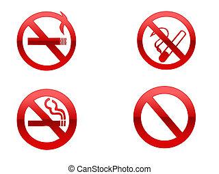 No Smoking - Four different no smoking signs