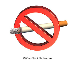 No Smoking - Three-dimensional rendering of a no smoking...