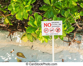 no smoking eating and drinking sign on white board