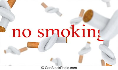 No smoking - Falling down cigarettes tied in a knot.White...