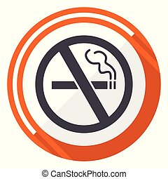 No smoking flat design vector web icon. Round orange internet button isolated on white background.