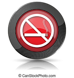 No smoking icon - Shiny glossy icon with white design on red...