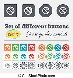 no smoking icon sign. Big set of colorful, diverse, high-quality buttons. Vector
