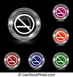 No smoking icon - Silver shiny icons - six colors vector set...