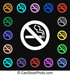 no smoking iconi sign. Lots of colorful symbols for your design. Vector
