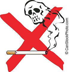 No smoking. illustration with cigarette and skelleton.