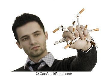 No smoking - Man whose breaking cigarettes