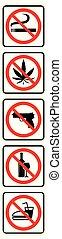 No smoking, no marijuana, no gun, no alcohol, no food symbols collection