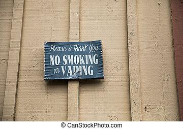 No Smoking or Vaping Sign at Winery