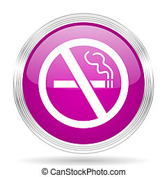 no smoking pink modern web design glossy circle icon