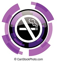 No smoking pink violet modern design vector web and smartphone icon. Round button in eps 10 isolated on white background.