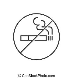 No smoking prohibition sign related vector thin line icon.