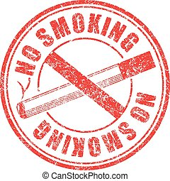 No smoking red round grunge rubber stamp on white background, vector illustration.