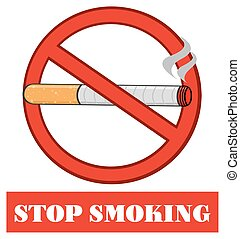 Red Sign With Cigarette With Text
