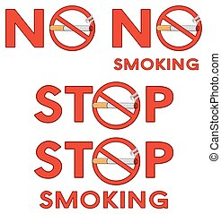 No Smoking Red Signs With Text