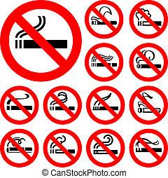 No smoking - red symbols, vector illustrations