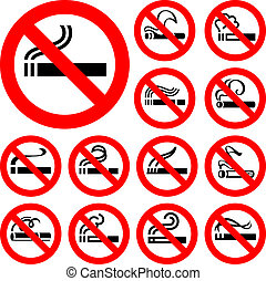 No smoking - red symbols, vector illustrations