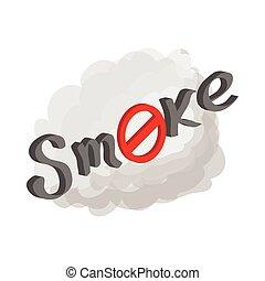 No smoking sign icon, cartoon style