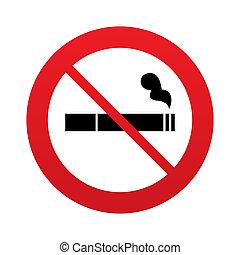No Smoking sign icon. Cigarette symbol. Red prohibition...