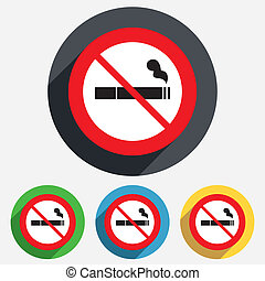 No Smoking sign icon. Cigarette symbol. Red circle...