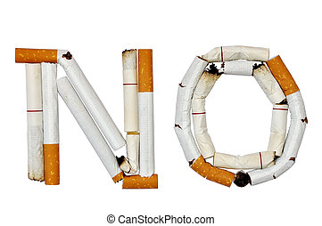 No smoking sign made out of torn cigarette on a white ...