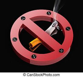 No smoking sign - Metal no smoking sign squeezing cigarette