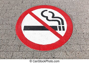 No smoking sign on the floor
