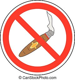 No smoking sign. Prohibition sign of smoking cigar (cigarette), vector