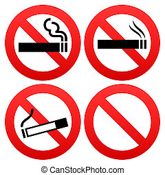 Smoking cigarettes and other tobacco forbidden sign