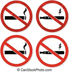 No smoking sign vector for cigarette and electronic...