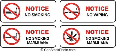No smoking sign vector for cigarette and electronic cigarette vaporizer and marijuana