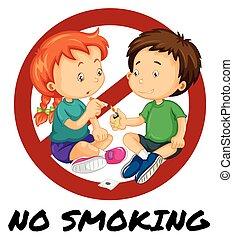 No smoking sign with two kids smoking