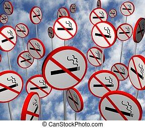 No Smoking Signs - Illustrated no smoking signs over a ...
