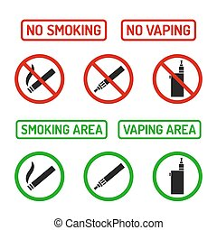 Set of No Smoking and Smoking Area symbols. Cigarettes and vaporizers (electronic cigarettes), text signs.